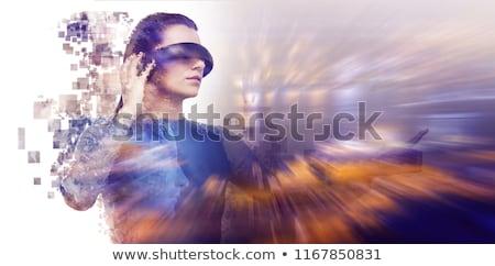 Profile view of digitally generated pixelated 3d man Stock photo © wavebreak_media