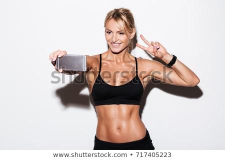 Portret kobieta zwycięstwo podpisania piękna Zdjęcia stock © feedough