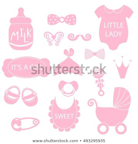 Rosa chupete corazón aislado blanco bebé Foto stock © robuart