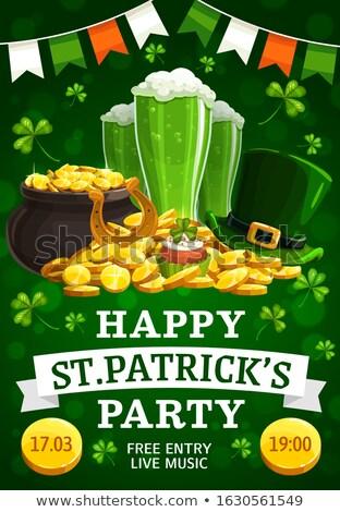 bril · groene · bier · Shamrock · gouden · munten · St · Patrick's · Day - stockfoto © dolgachov