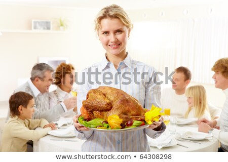 young man with a roast turkey Stock photo © nito