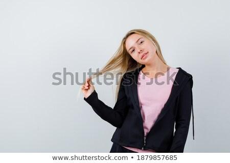 glimlachend · brunette · vrouw · shirt · jas - stockfoto © deandrobot