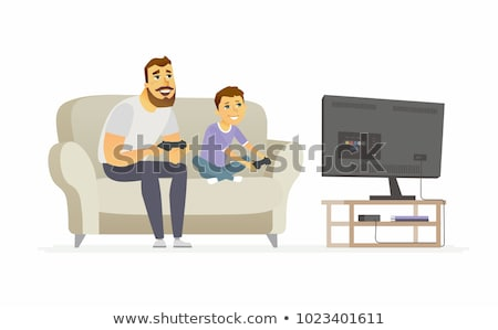 Father And Son Play Video Games Sitting Together Vector. Isolated Illustration Stock photo © pikepicture