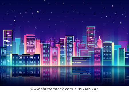 Vector night city illustration with neon glow, vivid colors and reflection Stock photo © MarySan