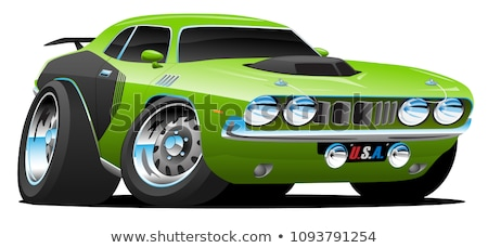 seventies classic muscle car cartoon vector illustration stock photo © jeff_hobrath