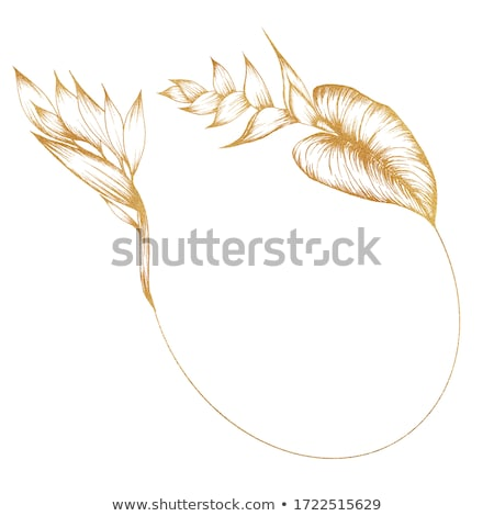 Floral frame. Graphic outline design wreath arrangement. Stock photo © ESSL