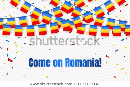 Romania garland flag with confetti on transparent background, Hang bunting for celebration template  Stock photo © olehsvetiukha