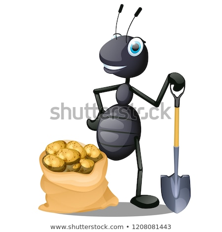 Joyful ant with a shovel and a sack of potatoes isolated on white background. Vector cartoon close-u Stock photo © Lady-Luck