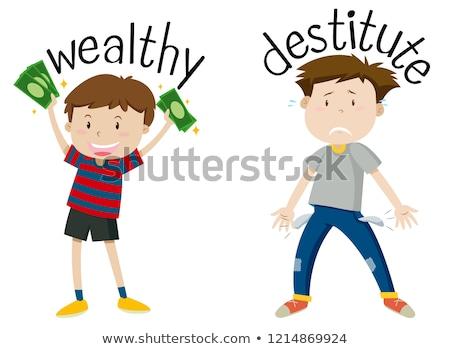 Angol ellenkező szó vagyonos oktatás kártya Stock fotó © bluering