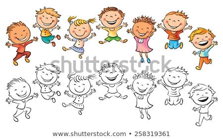 Cartoon · дети · черно · белые · коллекция · иллюстрация · детей - Сток-фото © izakowski