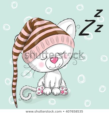 Cartoon uśmiechnięty kotek piżama Zdjęcia stock © cthoman