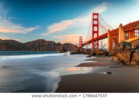 Foto stock: Golden · Gate · Bridge · reflexões · praia · San · Francisco · Califórnia · EUA