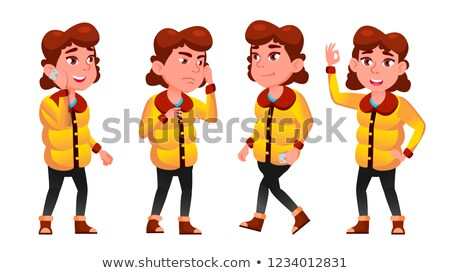 winter girl poses set vector school child child pupil emotions for postcard announcement cover stock photo © pikepicture