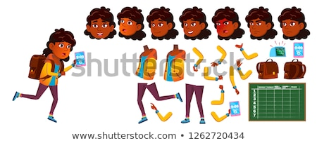 Indian, Hindu Girl Vector. School Child. Animation Creation Set. Face Emotions, Gestures. Dream, Sol Stock photo © pikepicture
