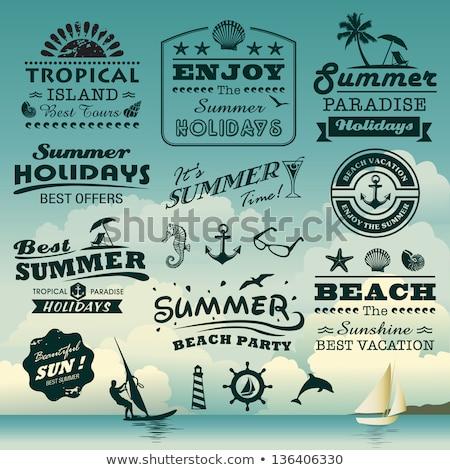 Verão férias praia farol assinar símbolo Foto stock © vector1st