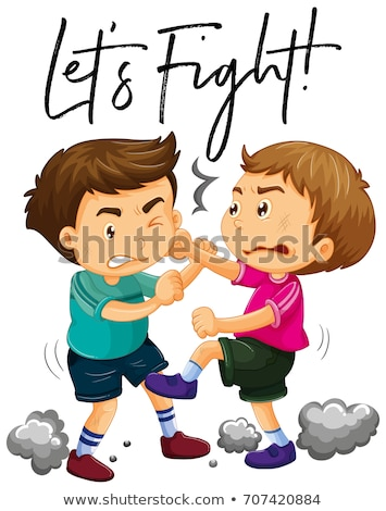 Phrase let's fight with two angry boys fighting Stock photo © colematt