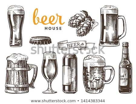 Beer Glass, Bottle, Can and Mug Vintage Poster Stock photo © robuart