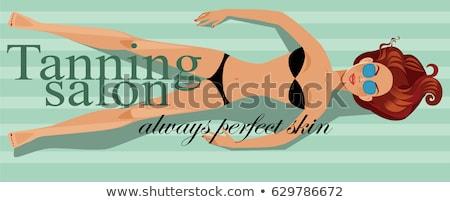 Lány napozás szolárium rajz poszter izolált Stock fotó © robuart