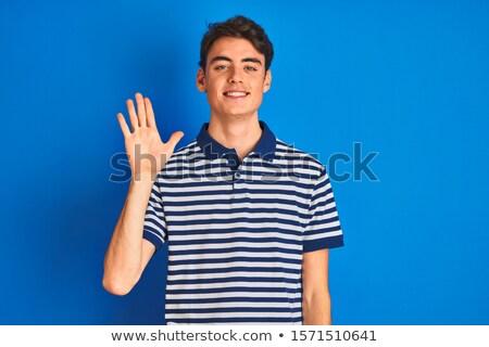 Menino provérbio olá azul ilustração criança Foto stock © colematt