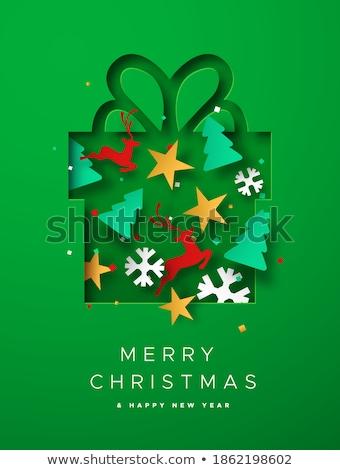 inverno · decorado · cartão · cidade · flocos · de · neve · vetor - foto stock © robuart