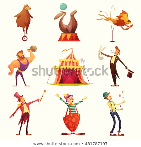 набор цирка клоуна иллюстрация улыбка счастливым Сток-фото © colematt