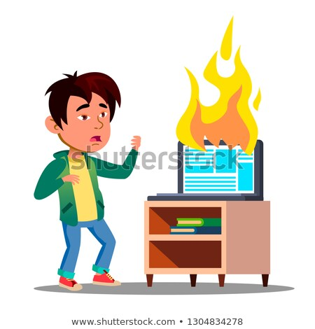 scared asian kid next to burst into flame laptop vector isolated illustration stock photo © pikepicture