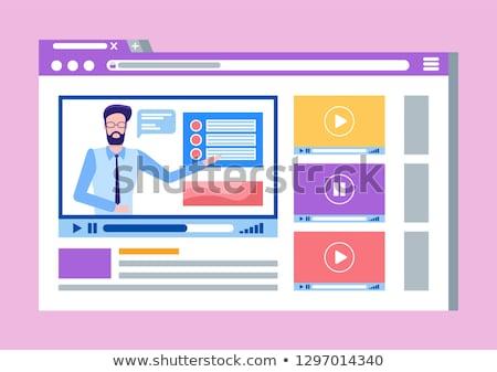 férfi · online · oktatás · online · oktatás · vékony · vonal - stock fotó © robuart