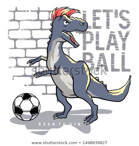 Cartoon динозавр играет Футбол иллюстрация улыбка Сток-фото © bennerdesign