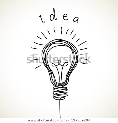 pencil with light bulb hand drawn outline doodle icon stock photo © rastudio