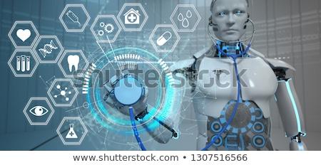 Robot Stethoscope Hexagons HUD Medicine Icons Stock photo © limbi007