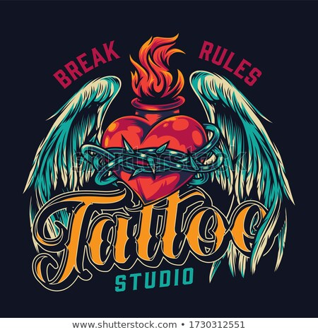 Color vintage tatuaje salón emblema eps Foto stock © netkov1
