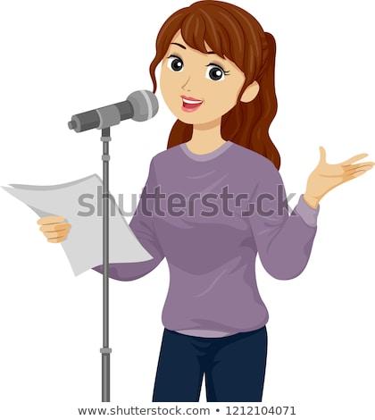 Teen girl poezja czytania ilustracja Zdjęcia stock © lenm