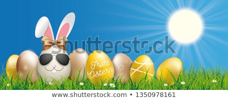 Blue Sky Happy Easter Ostern Eggs Ribbon Grass Stock photo © limbi007