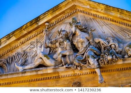Detail fom Corn Exchange Hall building at Place de l'Hotel de vi Stock photo © boggy