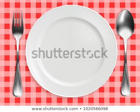Stock photo: Realistic empty plate, fork and knife served on checkered red napkin vector illustration. Can be use