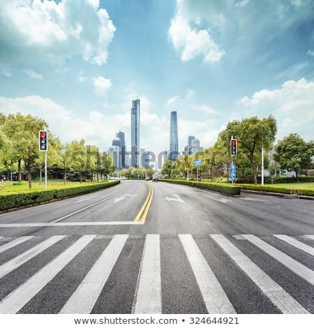 ストックフォト: 通り · 現代 · 空っぽ · 市 · シマウマ · 町