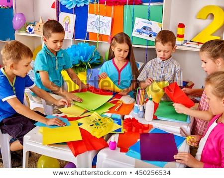 iskolások · visel · iskola · mikrofon · oktatás · asztal - stock fotó © lopolo