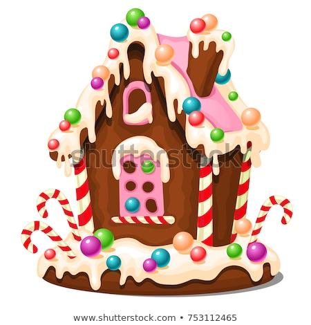 Közelkép cukorka mézeskalács házak ünnepek édesség Stock fotó © dolgachov