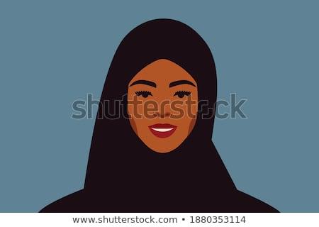 Arc fiatal mosolyog arab női kék Stock fotó © pressmaster