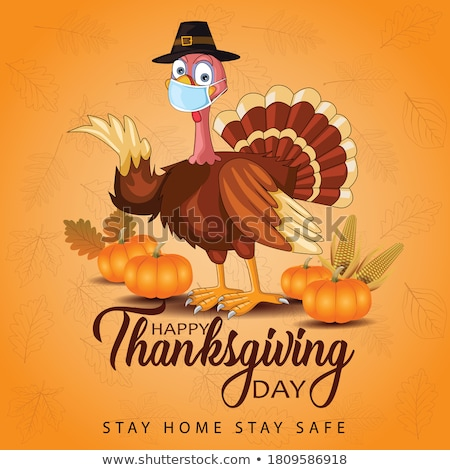 happy thanksgiving poster with pumpkin vector stock photo © robuart