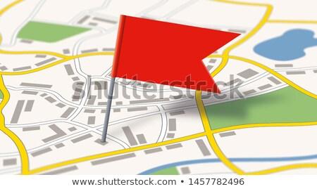 общий город карта флаг Pin улице Сток-фото © Zerbor