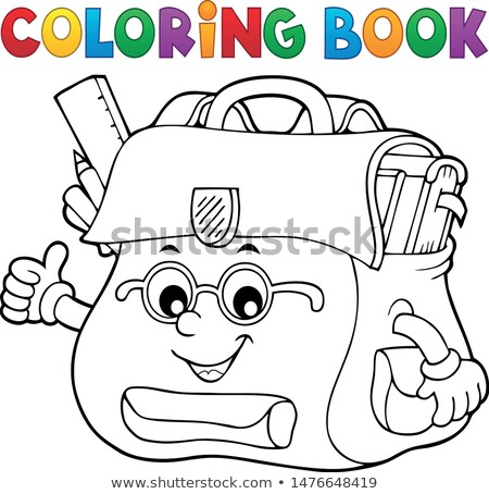 Coloring book happy schoolbag topic 2 Stock photo © clairev
