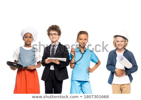 happy boy in four different costumes stock photo © bluering