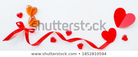 Stock photo: red heart shaped lollipops for valentines day