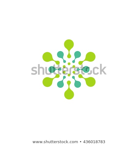 Abstract molecular circle logotype. Connected dots chemistry logo. Virus Sun or Flower icon. Stock v Stock photo © kyryloff