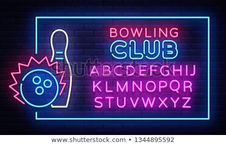 Bowling neonreklám sport promóció bár éjszaka Stock fotó © Anna_leni