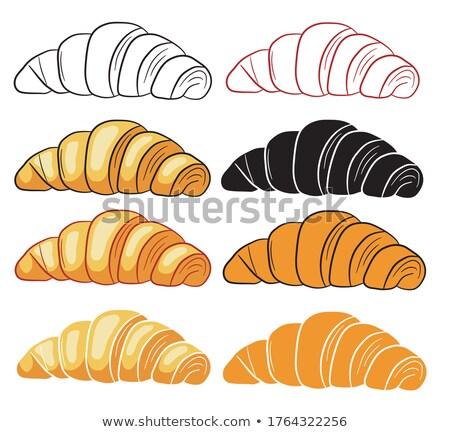 Croissant assinar café da manhã branco sobremesa gráfico Foto stock © cidepix