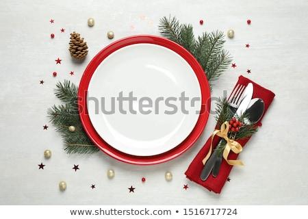 üres · tányér · ezüst · étkészlet · karácsony · dekoráció · felülnézet - stock fotó © karandaev