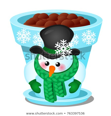 Flower pot with snowman isolated on a white background. Sketch of Christmas festive poster, party in Stock photo © Lady-Luck
