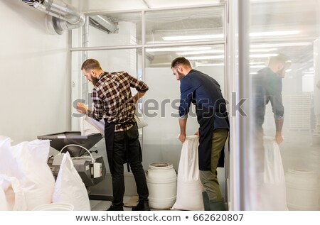 brewer pouring malt into mill at beer brewery Stock photo © dolgachov